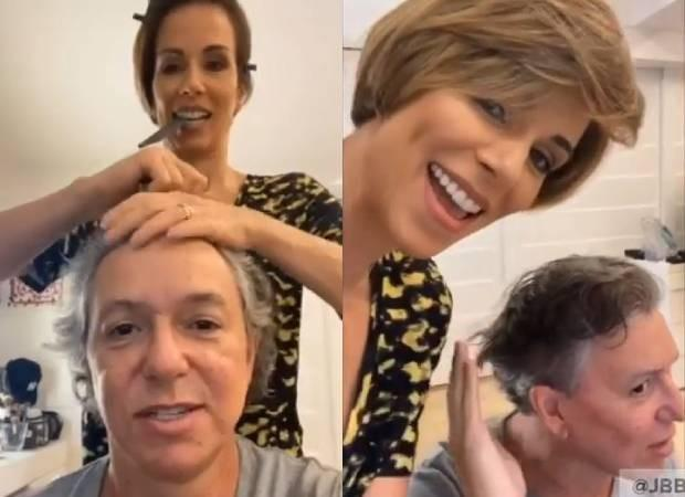 Ana Furtado corta os cabelos do marido, Boninho, em casa