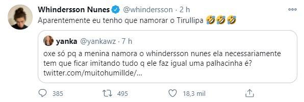 Whindersson Nunes rebate comentários após surgir vídeo com a namorada