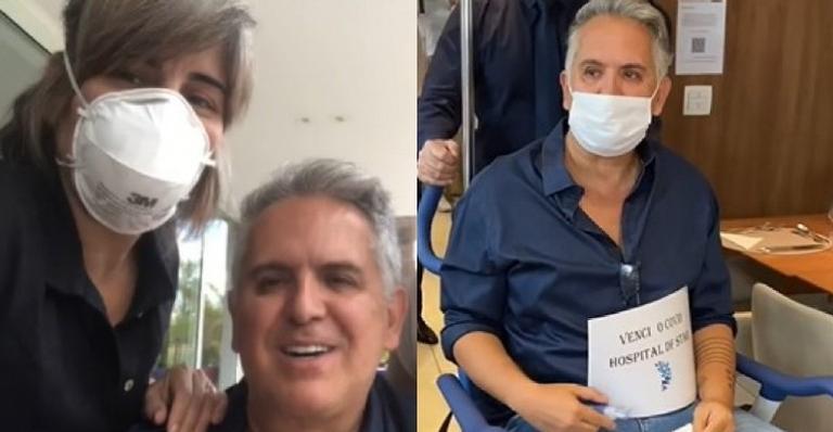Em vídeo, atriz surgiu sorridente ao lado de Orlando Morais, que estava há 10 dias internado por complicações da Covid-19